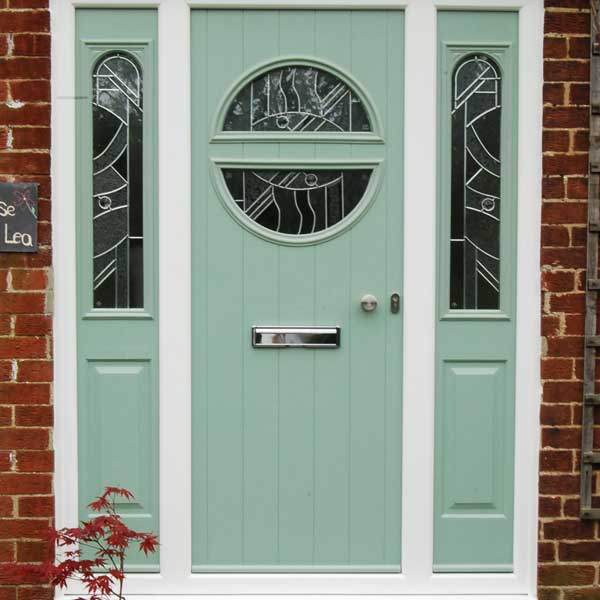 Chartwell green composite door with glazing