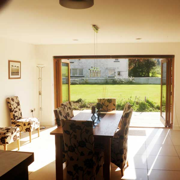 Timber bifold doors leading onto the garden