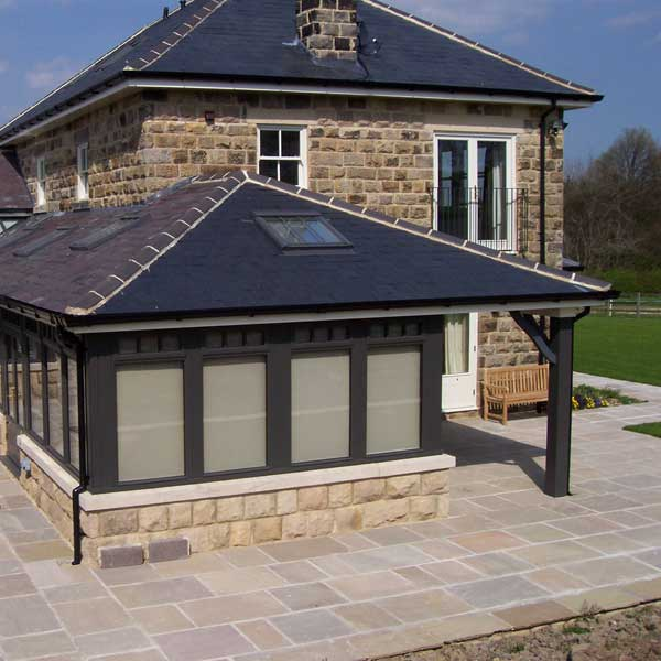 A close up of the large black conservatory