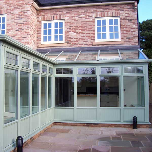 A chartwell green timber conservatory