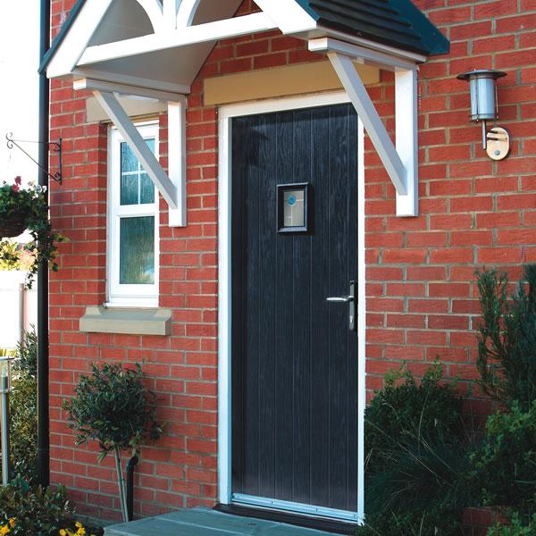 A composite door with high density foam core