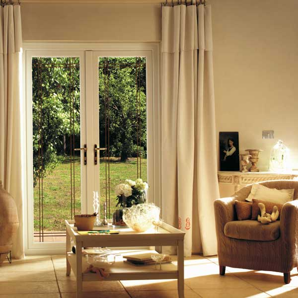 White uPVC french patio doors