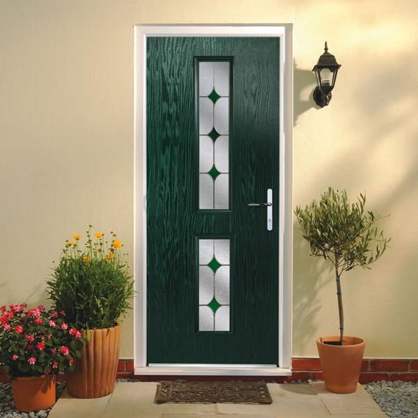 A green composite front door