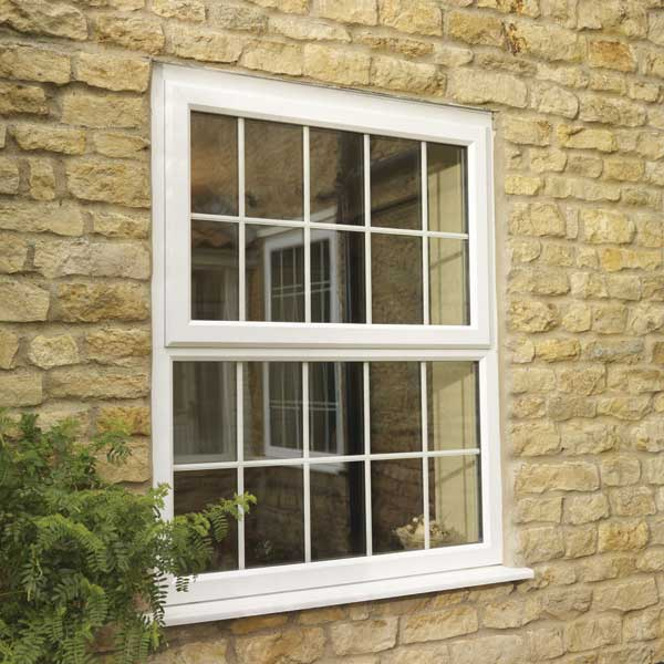 uPVC casement window in white with georgian bars