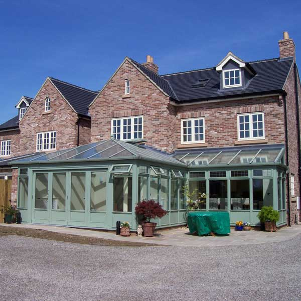 Large timber conservatory in chartwell green