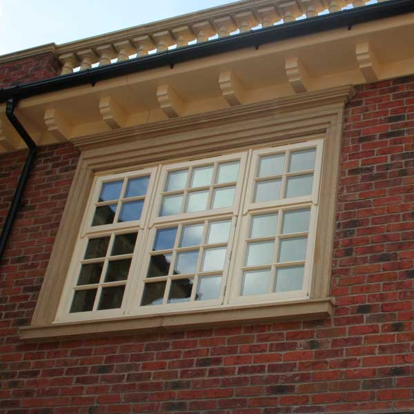 Timber mock sash window in cream