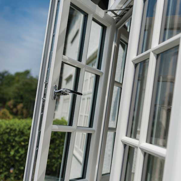 An open casement window in white