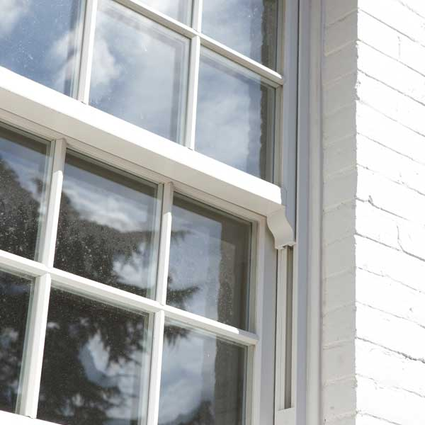 Vertical sliding sash window close up