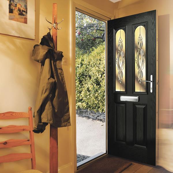 An open composite front door