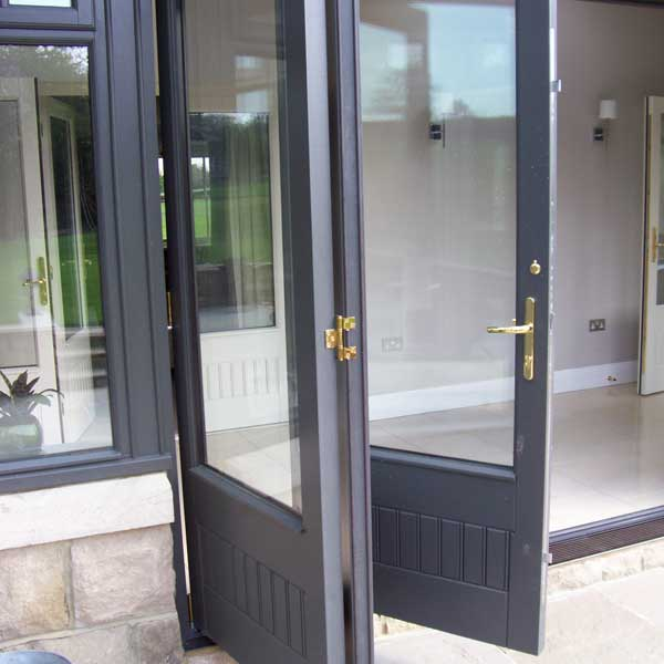 Grey timber bifolding door