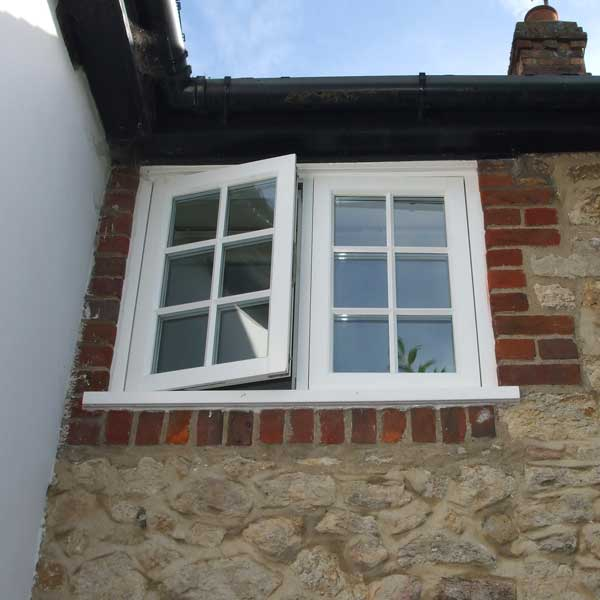 Traditional timber windows in casement style