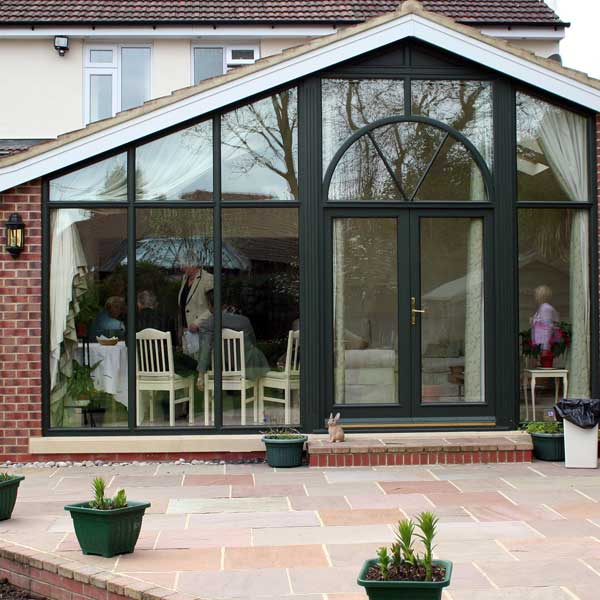 Modern looking timber french doors in black