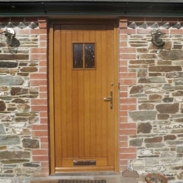Timber front door with glazing