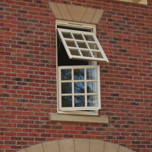 Timber mock sash window open