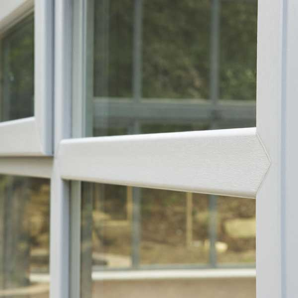 Close up of the uPVC frame used to make a conservatory