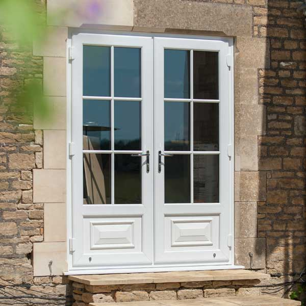 uPVC french doors in white