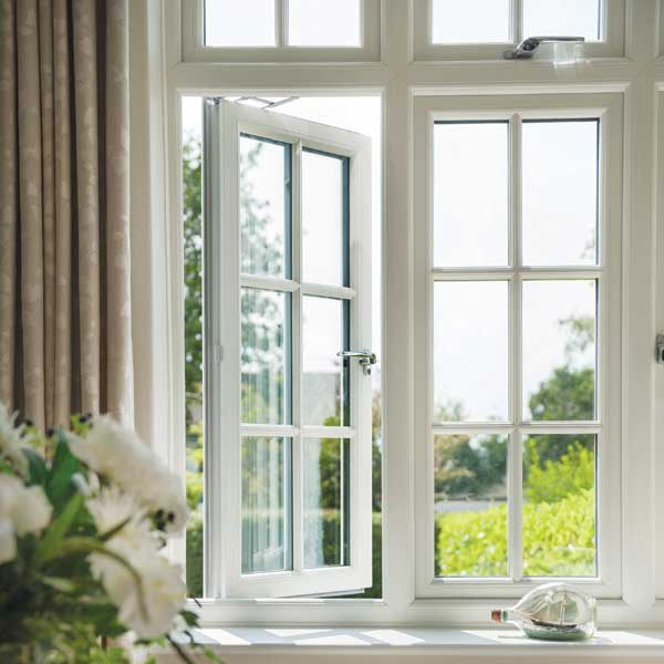 A white casement uPVC window open fully